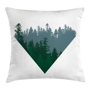 Pillow Case Forest Treetops Print Cover No Insert